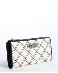 Marc Jacobs White and Black Eather Zip Around Continental Wallet - Lyst