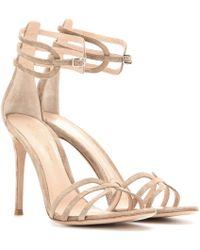 Gianvito Rossi Suede Sandals beige - Lyst