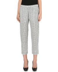 Theory - Korene Check-print Silk Trousers - Lyst
