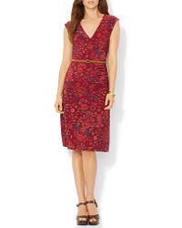 Ralph Lauren Lauren Faux Wrap Floral Dress - Lyst