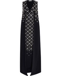 Antonio Berardi Stretch Cady Embroidered Cape Gown - Lyst