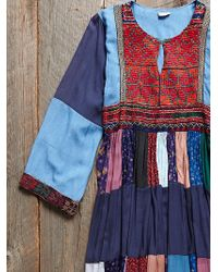 Free People Vintage Denim Patchwork Dress - Lyst