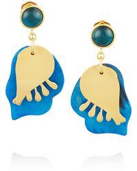 Marni Goldtone Horn and Resin Clip Earrings - Lyst