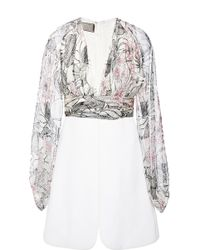 Giambattista Valli Floral Georgette Long Sleeve V-Neck Dress - Lyst