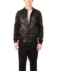 Helmut Lang Padded Leather & Mesh Bomber Jacket black - Lyst