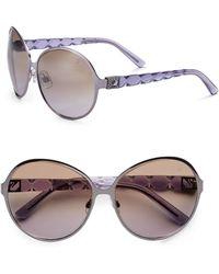 Swarovski Gunmetal Oversized Round Metal Sunglasses - Lyst