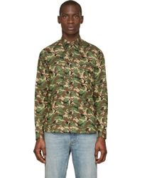 Saint Laurent Khaki And Green Camo Print Western Shirt - Lyst