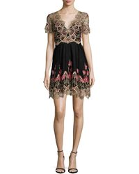 Notte by Marchesa | Short-sleeve Embroidered Tulle Cocktail Dress | Lyst