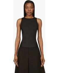 Gareth Pugh Black Waxed Denim Panelled Tank Top - Lyst