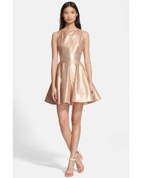 Alice + Olivia Lia Metallic Silk Fit-and-Flare Dress - Lyst