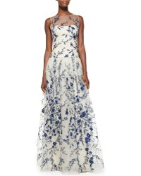 Notte By Marchesa Sleeveless Embroidered Overlay Gown - Lyst