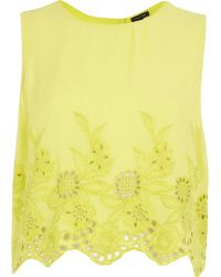 River Island  Floral Embroidered Crop Tank Top - Lyst
