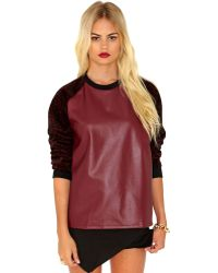 Missguided Kadice Leather and Leopard Contrast Sweatshirt - Lyst