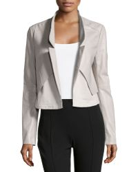 Halston Heritage Cropped Leather Combo Jacket - Lyst