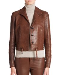 Ralph Lauren Black Label Marissa Croc-Embossed Leather Jacket brown - Lyst