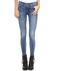 7 For All Mankind The Ankle Skinny Jeans with Raw Hem Destroyed Rue De Lille 2 - Lyst