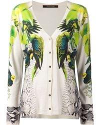 Roberto Cavalli Parrot Print Cardigan - Lyst