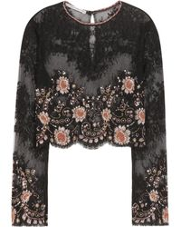 Alessandra Rich | Embellished Lace Cropped Top | Lyst