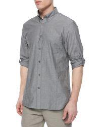 John Varvatos Kelp Roll-Tab Woven Shirt - Lyst