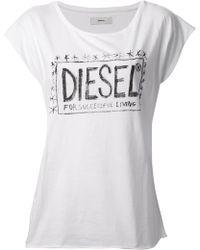 Diesel White Printed Tshirt - Lyst