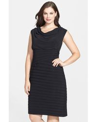 Adrianna Papell Cowl Neck Asymmetrical Shutter Pleat Dress - Lyst