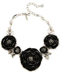 Oscar de la Renta Resin Rose Necklace - Black/Silver - Lyst