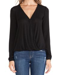 Ella Moss Icon Wrap Front Blouse - Lyst
