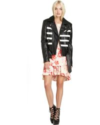 BCBGeneration Faux Leather Striped Moto Jacket - Lyst