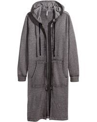 H&M Long Hooded Jacket gray - Lyst
