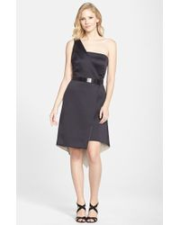 Halston Heritage One-Shoulder Satin Fit & Flare Dress - Lyst