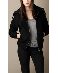 Burberry Merino Wool Jacket With Knit Detail - Lyst
