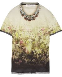 Valentino Embellished Printed Jersey Top - Lyst