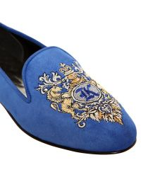 Kardinale - 10mm Suede Embroidered Loafers - Lyst