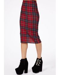 Missguided Amalize Tartan Midi Pencil Skirt in Burgundy - Lyst