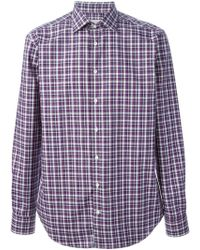 Etro Purple Checked Shirt - Lyst