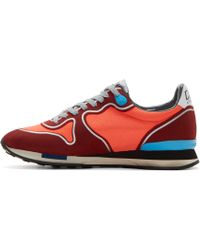 Golden Goose Deluxe Brand Burgundy And Coral Paneled Running Sneakers - Lyst
