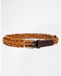 Asos Skinny Leather Braid Belt - Lyst