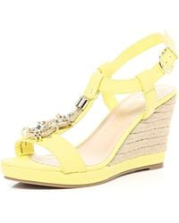 River Island Lime Metal Trim T Bar Raffia Wedges - Lyst