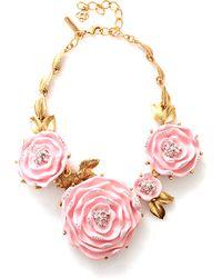 Oscar de la Renta Three Rose Necklace - Lyst