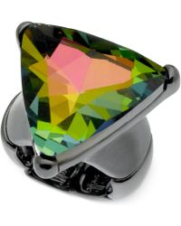 Guess Hematite-tone Iridescent Triangle Stretch Ring - Lyst