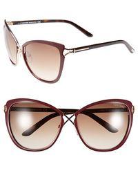 Tom Ford - 'celia' 59mm Cat Eye Sunglasses - Shiny Bordeaux - Lyst