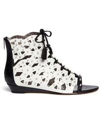 Sam Edelman 'Daphnie' Stud Cutout Suede Sandals white - Lyst