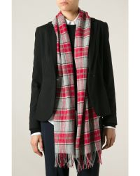 Gladys & Pixie Gladys and Pixie Red and Grey Check Scarf - Lyst