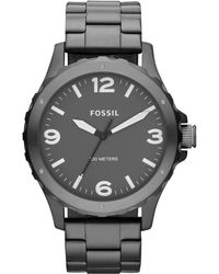 Fossil Mens Nate Smoketone Stainless Steel Bracelet Watch 45mm - Lyst