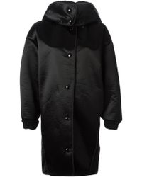 Stella McCartney Black Hooded Coat - Lyst