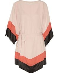 Halston Heritage Satin-Trimmed Color-Block Chiffon Mini Dress - Lyst
