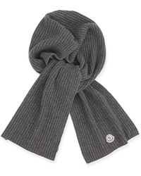 Moncler Mens Cashmere Ribbed Scarf - Lyst