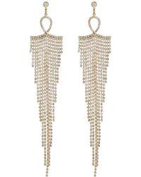 River Island Gold Tone Drape Diamante Earrings - Lyst