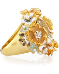 Kenneth Jay Lane - 22k Gold-plated Floral Cocktail Ring - Lyst
