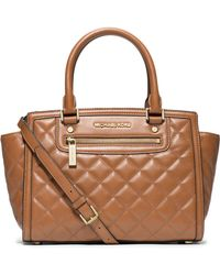 Michael by Michael Kors Selma Leather Quilted Zip Satchel - Lyst